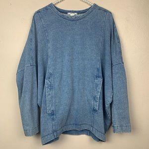 Helmut Lang Denim Chambray Sweater Oversized Small
